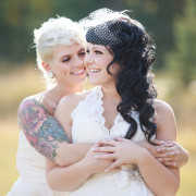 Same-sex Wedding with Beautiful Fall Colors in Banff Springs, Canada.