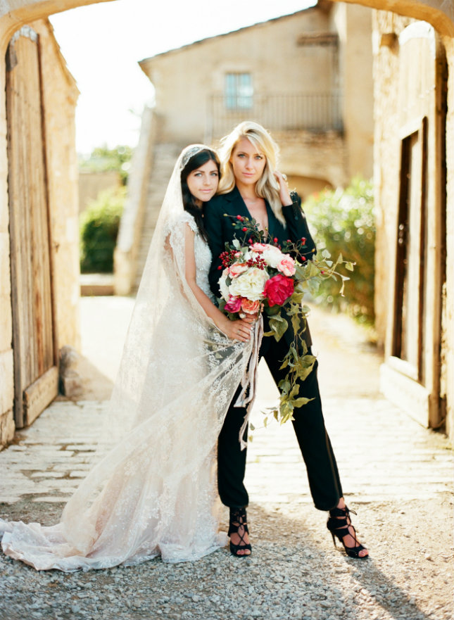 12 Bride + Bride Attire Ideas for Your Lesbian Wedding - Gay ...
